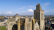 Aerial view of the incomplete North Tower of the Cathedral Saint-Samson, begun in the 13th century on the site of an older church and completed in the 18th century, in Dol-de-Bretagne, Brittany, France. The cathedral is dedicated to one of the founding saints of Brittany and until 1801 was the seat of the archbishopric of Dol. The North tower was built in the 16th century and never completed, the South tower was built 13th - 17th centuries. Picture by Manuel Cohen