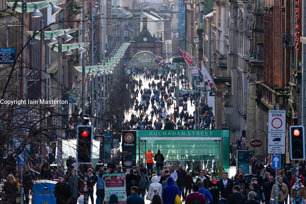 View along Buchanan Street on winter day in Glasgow, Scotland, UK