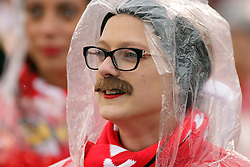 """31 October 2015:  It's Halloween and the Redbird Cheerleaders dressed as Brock Spack by making it Spack""""stashe"""" day donning fake mustaches similar to Coach Spack at NCAA FCS Football between Indiana State Sycamores and Illinois State Redbirds at Hancock Stadium in Normal IL (Photo by Alan Look)"""
