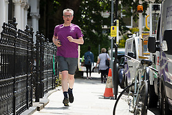 © Licensed to London News Pictures. 21/06/2019. London, UK.  Environment Secretary Michael Gove seen jogging near his west London home today. Yesterday Mr Gove was elimintated from the Conservative Party leadership election after receiving the fewest number of votes from MP's, leaving Boris Johnson and Jeremy Hunt as the final two contenders to battle it out to become leader of the Conservative Party and Prime Minister. Photo credit: Vickie Flores/LNP