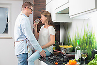 Romantic couple in kitchen