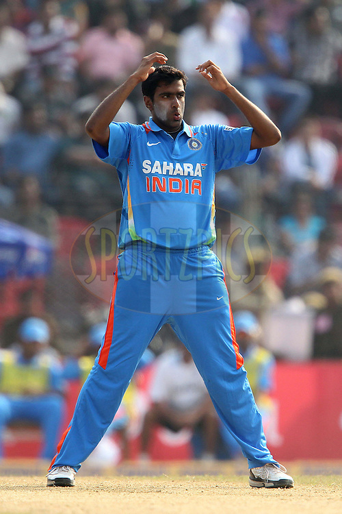 R Ashwin during the 1st ODI (One Day International ) between India and New Zealand held at the Nehru Cricket Stadium in Guwahati, Assam, India on the 28th  November 2010..Photo by Ron Gaunt/BCCI/SPORTZPICS