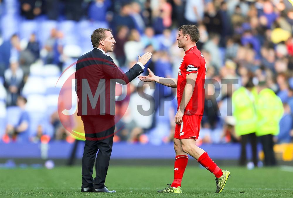 Liverpool Manager, Brendan Rodgers shakes hands with James Milner - Mandatory byline: Matt McNulty/JMP - 07966 386802 - 04/10/2015 - FOOTBALL - Goodison Park - Liverpool, England - Everton  v Liverpool - Barclays Premier League