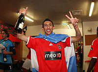 20100509: LISBON, PORTUGAL - SL Benfica vs Rio Ave: Portuguese League 2009/2010, 30th round. Players celebrations in the locker room. In picture: Angel Di Maria. PHOTO: CITYFILES
