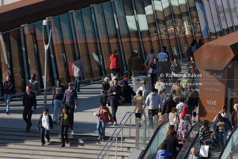 Aerial view of consumer shoppers at Westfield City shopping centre in Stratford, home of the 2012 Olympics.