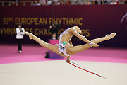 Dina Averina, Russia, wins hoop at the 33rd European Rhythmic Gymnastics Championships at Papp Laszlo Budapest Sports Arena, Budapest, Hungary on 21 May 2017. Her twin Arina took Gold. Photo by Myriam Cawston.