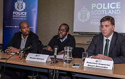Pictured: Nicolas Simenya<br /><br />Police briefing on Fords Road murder. Police  Scotland held a press conference today in Edinburgh on the Fords Road murder of chef Lionel Simenya. His brother Nicolas Simenya and DI Stuart Alexander were available to answer questions.  Mr Simenya was visiblely affected by the ordeal of answering questions.<br /><br />Ger Harley | EEm 14 March 2019