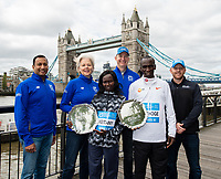 The Abbott team with Mary Keitany KEN and Eliud Kipchoge KEN winners of the Abbott World Marathon Majors Series XI at a photocall and press conference at the Guoman Tower Hotel for the winners of the Virgin Money London Marathon, 23 April 2018.<br /> <br /> Photo: Thomas Lovelock for Virgin Money London Marathon<br /> <br /> For further information: media@londonmarathonevents.co.uk