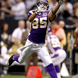 September 9, 2010; New Orleans, LA, USA; Minnesota Vikings wide receiver Greg Camarillo (85) during warm ups prior to kickoff of the NFL Kickoff season opener at the Louisiana Superdome. The New Orleans Saints defeated the Minnesota Vikings 14-9.  Mandatory Credit: Derick E. Hingle