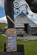 The international menu for snacks in a Slovenian herders' mountain huts in Velika Planina, on 26th June 2018, in Velika Planina, near Kamnik, Slovenia. Velika Planina is a mountain plateau in the Kamnik–Savinja Alps - a 5.8 square kilometres area 1,500 metres (4,900 feet) above sea level. Otherwise known as The Big Pasture Plateau, Velika Planina is a winter skiing destination and hiking route in summer. The herders' huts became popular in the early 1930s as holiday cabins (known as bajtarstvo) but these were were destroyed by the Germans during WW2 and rebuilt right afterwards by Vlasto Kopac in the summer of 1945.