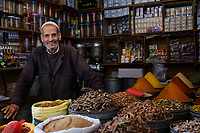 FEZ, MOROCCO - CIRCA APRIL 2017:  Portrait of Moroccan merchant at the Medina in Fez