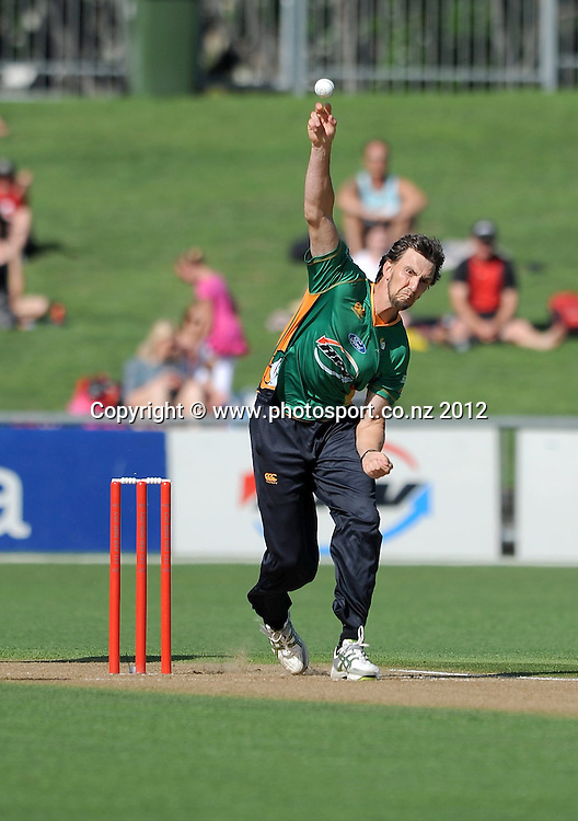 Central Stag's Michael Mason in action in the HRV Twenty20 Cricket match between the Central Stags and Northern Knights at McLean Park, Napier, New Zealand. Saturday 14 January 2012. Photo: Kerry Marshall / photosport.co.nz
