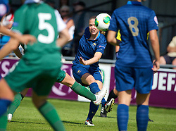 HAVERFORDWEST, WALES - Sunday, August 25, 2013: France's Lea Declercq in action against Wales during the Group A match of the UEFA Women's Under-19 Championship Wales 2013 tournament at the Bridge Meadow Stadium. (Pic by David Rawcliffe/Propaganda)