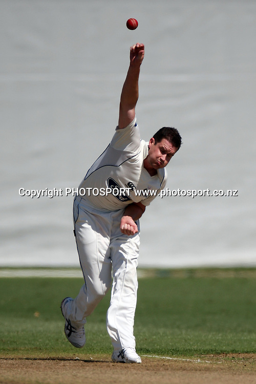 Gareth Shaw bowling, Plunket Shield, 4 day domestic cricket. Auckland v Wellington, Colin Maiden Park, Auckland. 22 March 2011. Photo: William Booth/photosport.co.nz