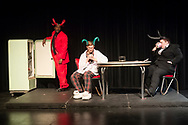 "Middletown, New York - The SUNY Orange Apprentice Players perform ""The End: An Apocalypse Anthology"" at Orange Hall Theatre on April 13,  2017.  Under the direction of David Cohen, the student productions showcased ""This is How It Ends"" by A. Rey Pamatmat, ""La Reina de Los Angeles"" by Jennifer Haley, ""Apocalypse Apartments"" by Allison Moore and ""Promageddon"" by Dan Dietz. The remaining four pieces, ""The One About The Asteroid,"" ""The One That Ends Itself,"" ""La Muerte"" and ""The One They Call The Bloop"" are written by Marco Ramirez."