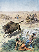 North American Indians hunting buffalo (North American Bison) on prairies with bows and arrows and spears. Colour-printed wood engraving, Paris, c1870.