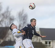 Jim McAlister beats Michael Miller in the air - Dumbarton v Dundee  - SPFL Championship at the Bet Butler Stadium<br /> <br />  - &copy; David Young - www.davidyoungphoto.co.uk - email: davidyoungphoto@gmail.com