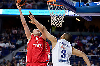 Real Madrid's Anthony Randolph and Crvena Zvezda Mts Belgrade's Milko Bjelica during Turkish Airlines Euroleague match between Real Madrid and Crvena Zvezda Mts Belgrade at Wizink Center in Madrid, Spain. March 10, 2017. (ALTERPHOTOS/BorjaB.Hojas)