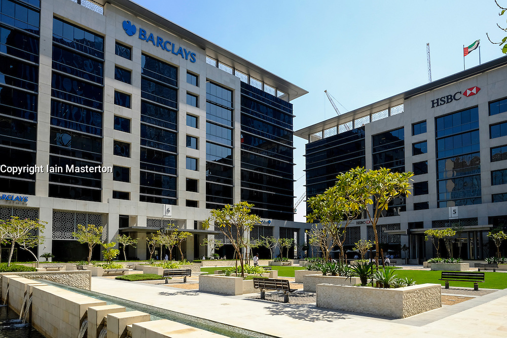 HSBC and Barclays Banks at Emaar Square in business and financial hub at Downtown Dubai United Arab Emirates