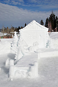 """USA, Idaho, McCall, A Snow Sculpture for the McCall Winter Carnival (""""Catch & Release)"""