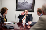 Montana Senator Jon Tester (D) meets with constituants in his office on Capitol Hill.