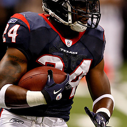 August 21, 2010; New Orleans, LA, USA; Houston Texans running back Jeremiah Johnson (24) during warm ups prior to kickoff of a preseason game against the New Orleans Saints at the Louisiana Superdome. Mandatory Credit: Derick E. Hingle