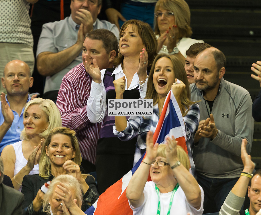 Kim Murray cheers during the Davis Cup Semi-final between Great Britian and Australia (c) ROSS EAGLESHAM | Sportpix.co.uk