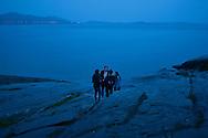 Highschool graduation party in Paradisbukta (Paradise Bay) outside Steinkjer, Norway - 1am