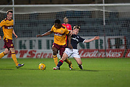 Dundee&rsquo;s Brian Rice tackles Motherwell's Alfredo Agyeman - Dundee under 20s v Motherwell in the SPFL development league at Dens Park, Dundee<br /> <br /> <br />  - &copy; David Young - www.davidyoungphoto.co.uk - email: davidyoungphoto@gmail.com
