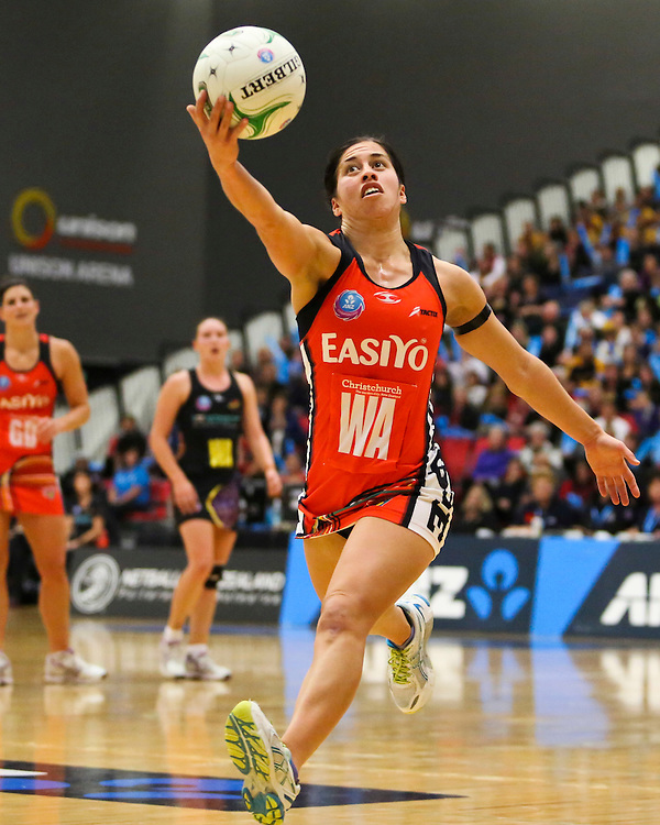 The Tactix Keisha Grant takes a pass against the Magic in the teams ANZ Championship Netball match, Energy Events Centre, Rotorua, New Zealand, Monday, 30 April, 2012. Credit:SNPA / John Cowpland