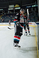 KELOWNA, CANADA - NOVEMBER 12: Jordan Borstmayer #11 of the Kelowna Rockets exits the ice after warm up against the Prince Albert Raiders on November 12, 2016 at Prospera Place in Kelowna, British Columbia, Canada.  (Photo by Marissa Baecker/Shoot the Breeze)  *** Local Caption *** Jordan Borstmayer;