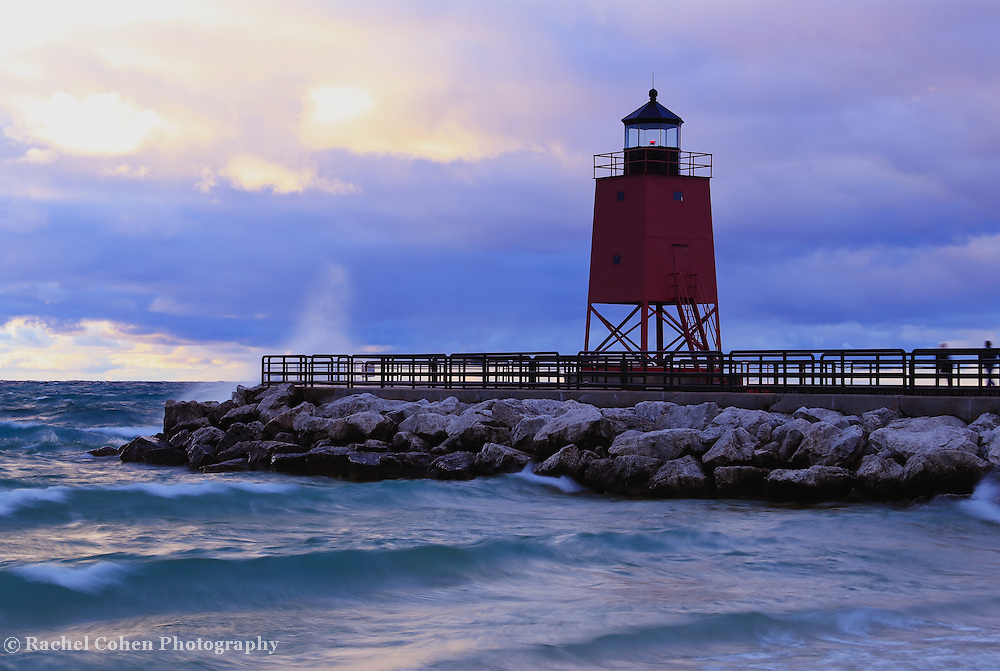 &quot;Charlevoix Lighthouse&quot; 2<br /> <br /> The beautiful red lighthouse in Charlevoix Michigan during a storm at sunset!!<br /> <br /> Lighthouses of the Great Lakes by Rachel Cohen