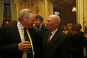 ADAM BOULTON, JONATHAN POWELL ( BEHIND) IRISH AMBASSADOR DAITHI O'CEALLAIGH, JONATHAN POWELL AND ADAM BOULTON. Seamus Heaney reading and party. Irish Embassy. Grosvenor Place. 21 April 2006. ONE TIME USE ONLY - DO NOT ARCHIVE  © Copyright Photograph by Dafydd Jones 66 Stockwell Park Rd. London SW9 0DA Tel 020 7733 0108 www.dafjones.com