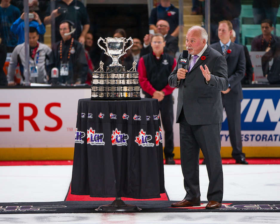 David Branch, President of the CHL and OHL Commissioner addresses the crowd at the 2016 MasterCard Memorial Cup. Photo by Rob Wallator / CHL Images.