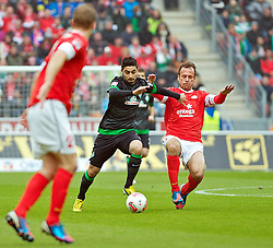 30.03.2013, Coface Arena, Mainz, GER, 1. FBL, 1. FSV Mainz 05 vs SV Werder Bremen, 27. Runde, im Bild Mehmet Ekici (SV Werder Bremen #10), am Ball, wird von Nikolce Noveski (1. FSV Mainz 05 #4) gefoult // during the German Bundesliga 27th round match between 1. FSV Mainz 05 and SV Werder Bremen at the Coface Arena, Mainz, Germany on 2013/03/30. EXPA Pictures © 2013, PhotoCredit: EXPA/ Andreas Gumz ***** ATTENTION - OUT OF GER *****