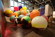 "Art 38 Basel. Art Unlimited Pre-Opening. Katharina Grosse, ""Atomballoons"", 2007. Galerie naechst St. Stephan Rosemarie Schwarzwaelder, Vienna."