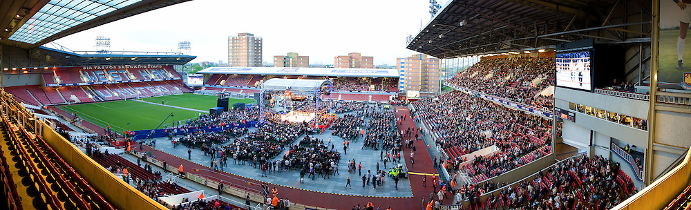Panoramic of Upton Park, West Ham United on the evening that Michael Katsidis defeats Kevin Mitchell on the 15th May  2010. Frank Warren Promotions. Photo credit © Leigh Dawney