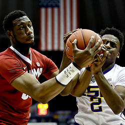 Jan 14, 2017; Baton Rouge, LA, USA; Alabama Crimson Tide forward Donta Hall (35) fights for possession with LSU Tigers guard Antonio Blakeney (2) during the first half of a game at the Pete Maravich Assembly Center. Mandatory Credit: Derick E. Hingle-USA TODAY Sports