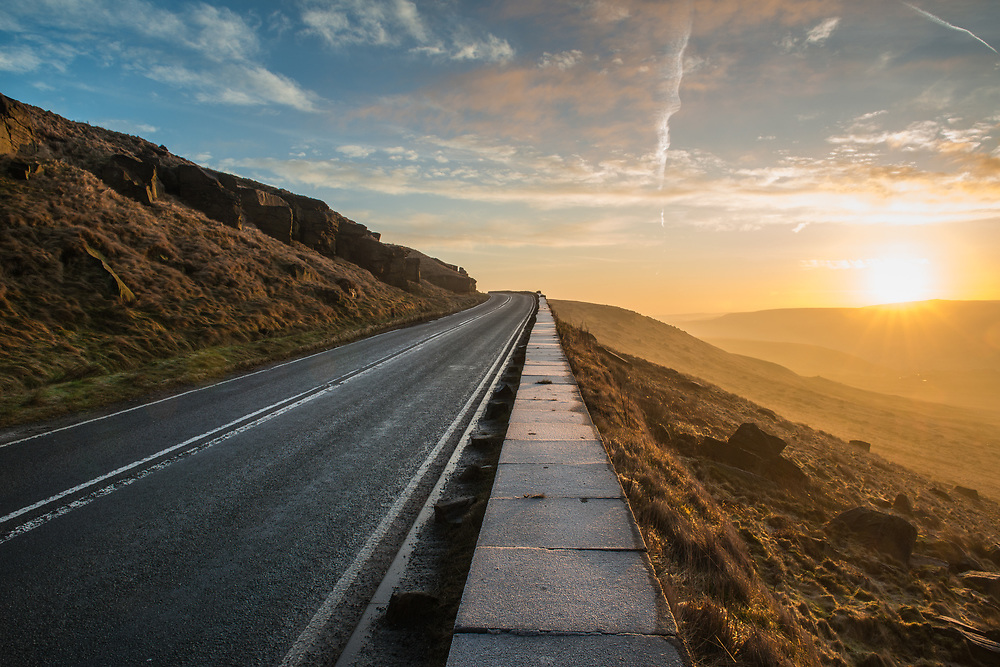 A view of the A640 New Hey Road at Buckstone Edge (also known as Nont Sarah's) towards Huddersfield and Elland.
