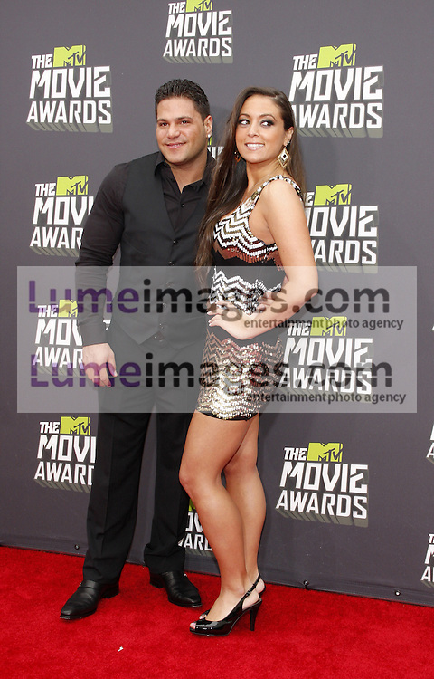 "Sammi ""Sweetheart"" Giancola and Ronnie Ortiz-Magro at the 2013 MTV Movie Awards held at the Sony Pictures Studios in Los Angeles, USA on April 14, 2013."