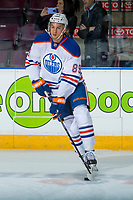 PENTICTON, CANADA - SEPTEMBER 9: William Lagesson #89 of Edmonton Oilers warms up with the puck against the Winnipeg Jets on September 9, 2017 at the South Okanagan Event Centre in Penticton, British Columbia, Canada.  (Photo by Marissa Baecker/Shoot the Breeze)  *** Local Caption ***