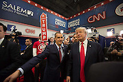 Presidential hopeful, billionaire Donald Trump, in the spin room after the CNN Republican Presidential Debate at the Venetian Hotel and Casino in Las Vegas.