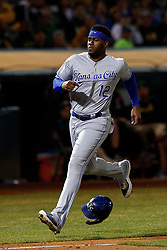 OAKLAND, CA - SEPTEMBER 16: Jorge Soler #12 of the Kansas City Royals runs to home plate to score a run against the Oakland Athletics during the fifth inning at the RingCentral Coliseum on September 16, 2019 in Oakland, California. The Kansas City Royals defeated the Oakland Athletics 6-5. (Photo by Jason O. Watson/Getty Images) *** Local Caption *** Jorge Soler