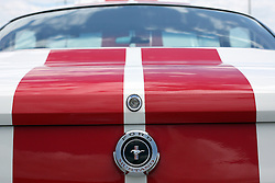 03 June 2007: Ford Mustang dressed in stripes. Automotive shots from The Central Illinois Ford Day, held at Dennison Ford in Bloomington, IL.