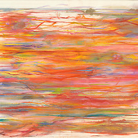 This work was inspired by Michael Ondaatje's The English Patient. I was so moved by his syntax and poetic style that I had to put it down on paper the only way I could, with this vision of lines, images, and colors. Materials: Pastel, Prismacolor pencils, and gouache on museum-grade archival quality Rives paper