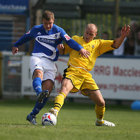 Photo: Pete Lorence.<br />Macclesfield Town v Notts County. Coca Cola League 2. 05/05/2007.<br />David Pipe tackles Alan Navarro.