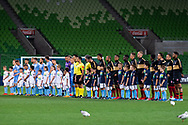 MELBOURNE, AUSTRALIA - SEPTEMBER 18: Teams line up ahead of the match during the FFA Cup Quarter Finals match between Melbourne City FC and Western Sydney Wanderers FC at AAMI Park on September 18, 2019 in Melbourne, Australia. (Photo by Speed Media/Icon Sportswire)