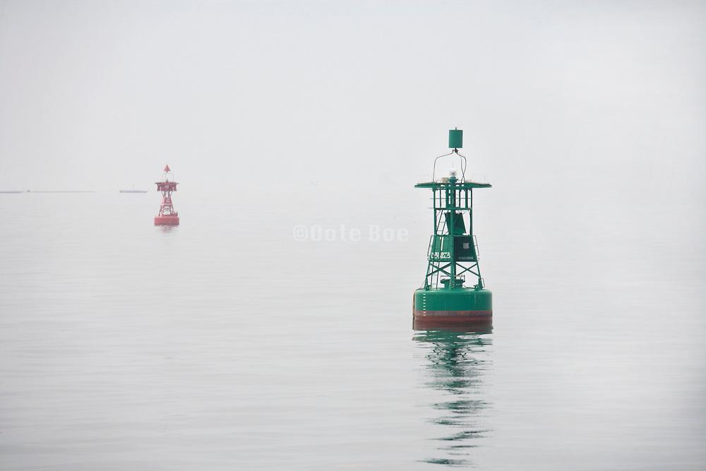 buoys in the fog
