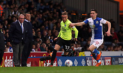George Cooper of Peterborough United in action with Marcus Antonsson of Blackburn Rovers - Mandatory by-line: Joe Dent/JMP - 19/04/2018 - FOOTBALL - Ewood Park - Blackburn, England - Blackburn Rovers v Peterborough United - Sky Bet League One