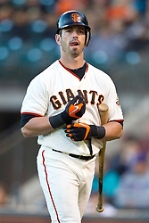July 27, 2010; San Francisco, CA, USA;  San Francisco Giants center fielder Aaron Rowand (33) during the second inning against the Florida Marlins at AT&T Park. San Francisco defeated Florida 6-4.